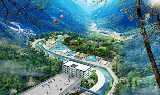 Yunnan Baihe Town Tourism Resort, covering an area of 15 acres, is a comprehensive small tourist resort integrating ecological resort hotels, water parks, spas, and ecological tourism.