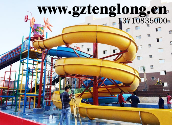 The water park in the Suez Economic and Trade Cooperation Zone in Egypt was designed and built by Guangzhou Tenglong Water Park Equipment Co., Ltd. The cooperation area is located at the southern mouth of the Suez Canal, on the west bank of the Red Sea, close to Insuhana Port and the Suez provincial city, and 120 kilometers away from Cairo. The project was completed in September 2014. The projects include children's slides, medium-sized water villages, children's paddling pools, water products, artificial wave making, water flushing and other equipment. It has been in business for many years and has a good customer experience. It is a good place for local residents to cool off.